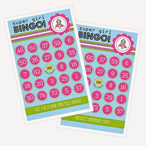 3 sets of 16 Super Hero Girl Birthday Bingo by Eventblossom