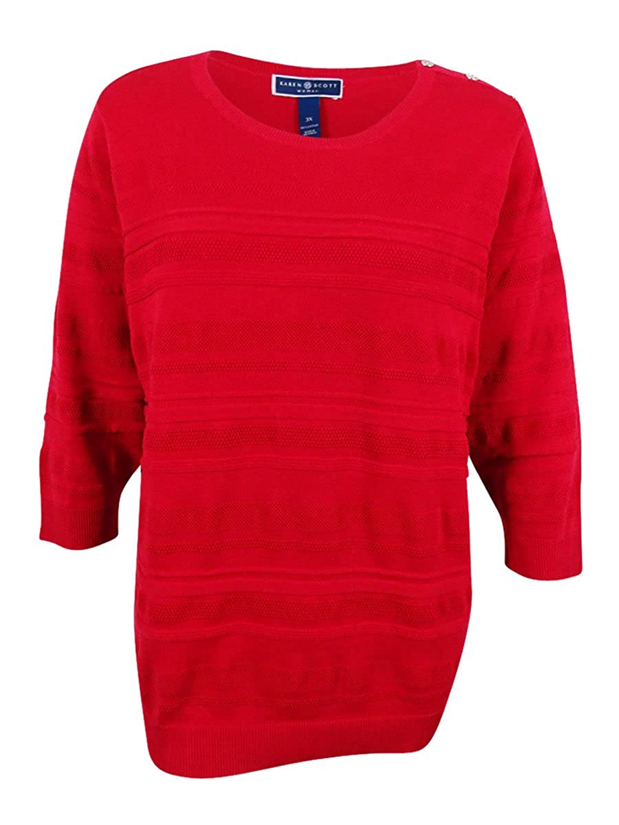 Karen Scott Womens Plus Knit Textured Pullover Sweater