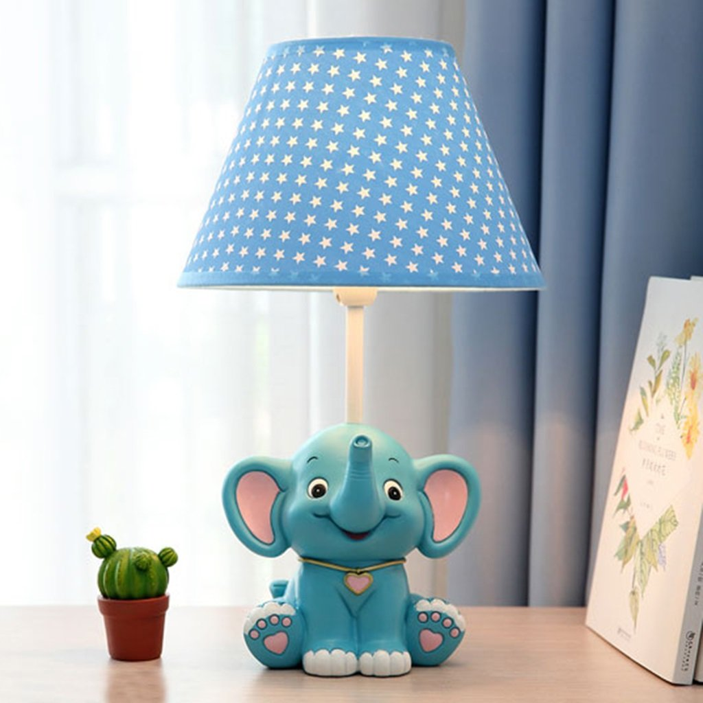 Table lamp Table Lamp Small Elephant Child Bedroom Bedside Lamp Cute Warm Gift Adjustable Light ( Color : Blue , Size : 46cm )