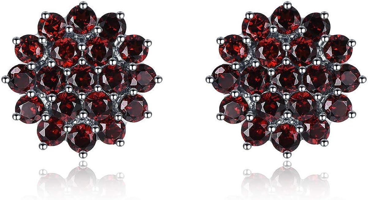 Pendientes de tuerca de plata de ley 925, 3,16 quilates, granate rojo auténtico, joyería fina para mujeres, regalo de Navidad
