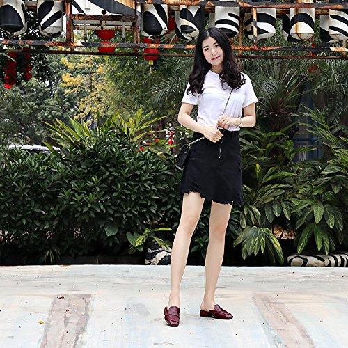 À Tide Femme Plat Black Chaussons Carrée Élégante D'Été Extérieure Cool Fond Chaussons Loisirs De L'Usure Simple Lumière Tête Baotou HwO1qw