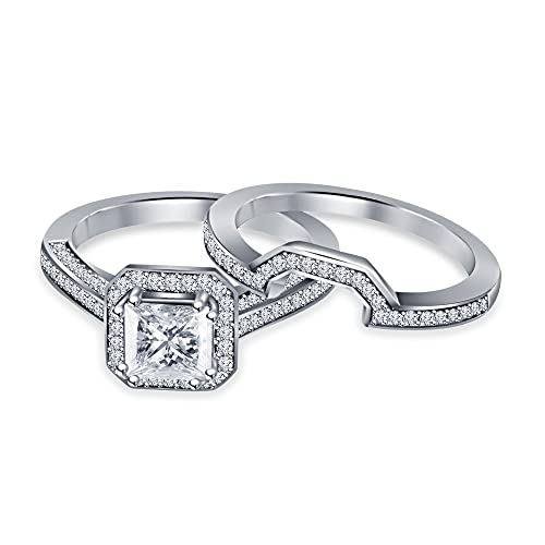 Vorra Fashion decorativo blanco, de corte princesa chapado en platino blanco CZ boda/compromiso