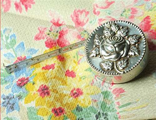 (Victorian Trading Co Silver Plate Rose Vintage Style Metal Measuring Tape )