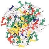 TOOGOO(R) 100pz Puntine Disegno Colorate Plastica Metallo Cancelleria Cartoleria