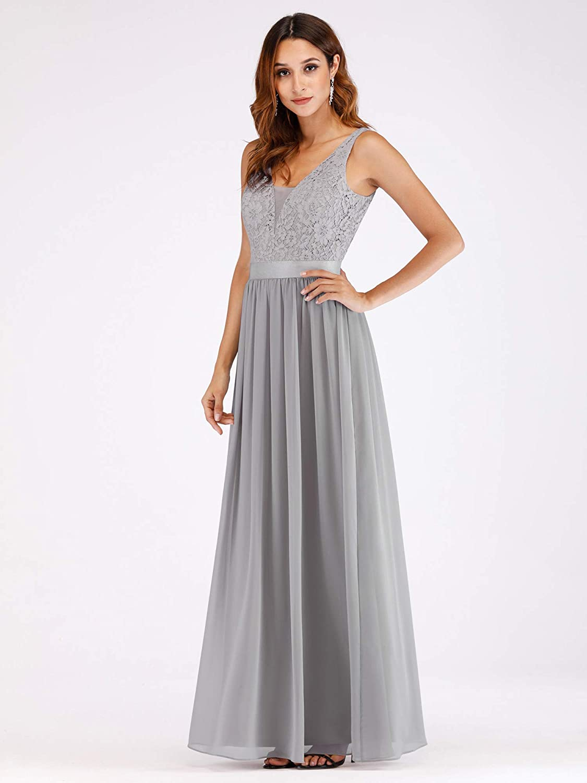 Ever-Pretty Womens Elegant Lace V Neck Floor Length A Line Long Chiffon Bridesmaid Dresses 07516