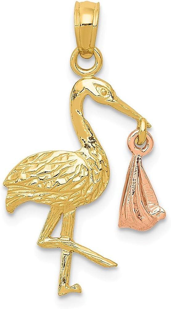 14k Gold Two-tone Stork Pendant