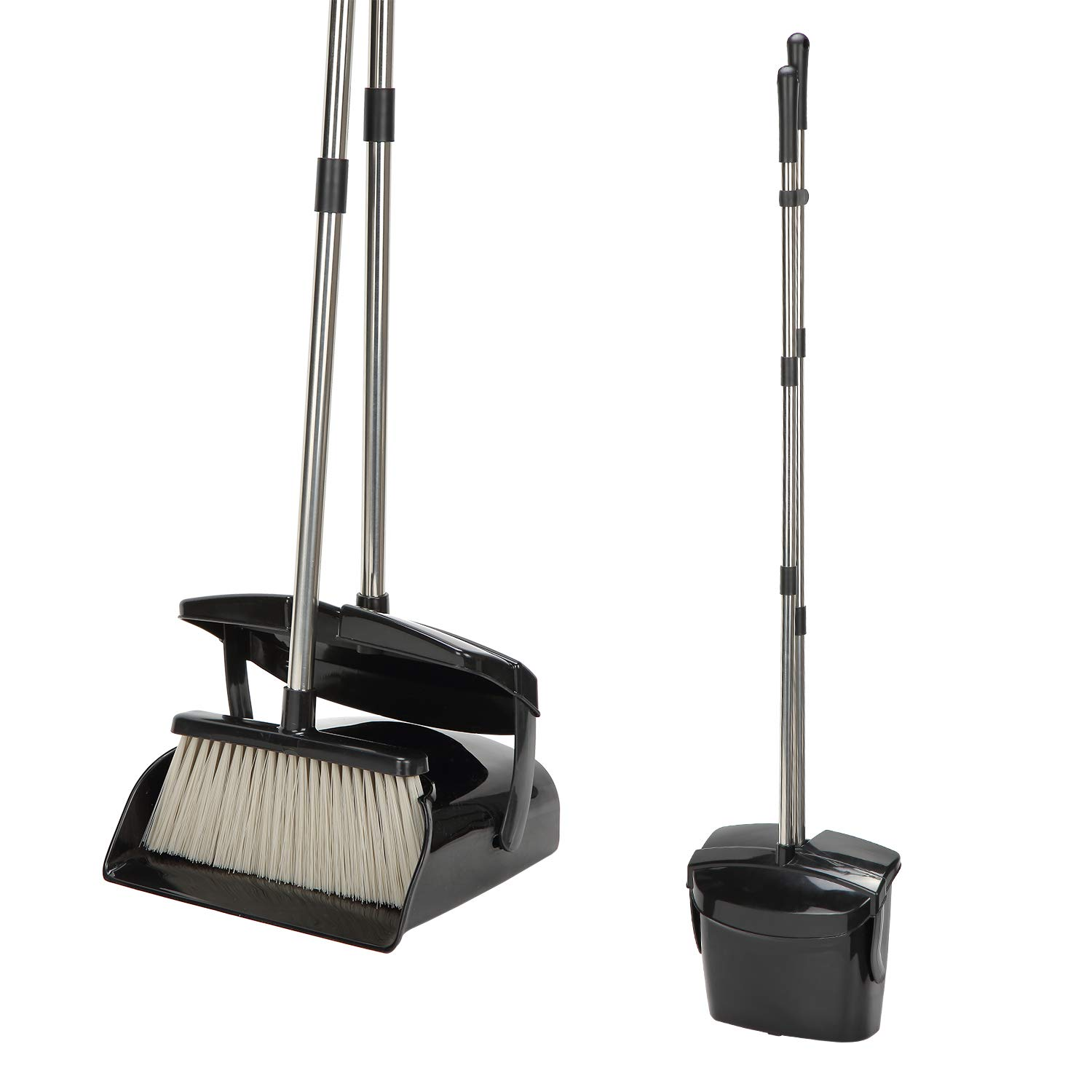 Broom and Dustpan Set - Large Upright Dust pan and 48-inch Long Handled Broom/Broom and Dustpan Comb for Home Office Industry Lobby (Black) by Cszxx
