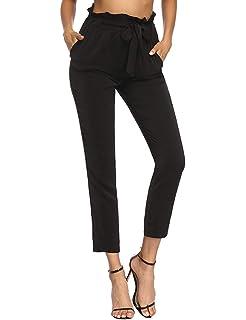 Pantalon Femme Longues Élégant Taille Haute Uni Manche Pantalon Ete  Trousers Slim Fit Style de fête bef7caaa19a