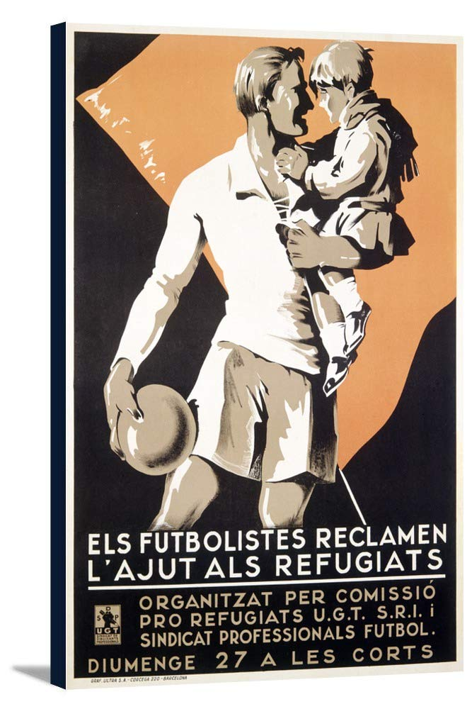 Els Futbolistes Reclamen L 'ajust als RefugiatsヴィンテージポスタースペインC。1938 24 x 36 Gallery Canvas LANT-3P-SC-59702-24x36 B0184B3SAA  24 x 36 Gallery Canvas