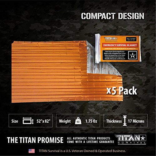 Titan Two-Sided Mylar Emergency Survival Space Blankets, 5-Pack | Safety-Orange (27-000002) by Titan Paracord (Image #3)