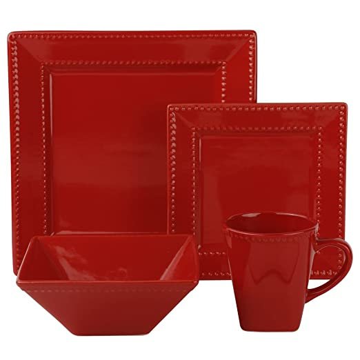 Christmas Tablescape Decor - Nova square red beaded porcelain 16-piece dinnerware set, service of 4 by 10 Strawberry Street
