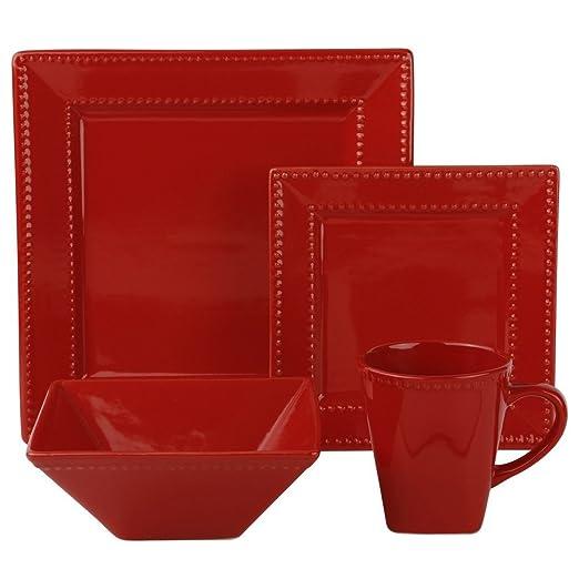 Christmas Tablescape Decor - Nova square red beaded porcelain 16-piece dinnerware set, service of 4 by 10 Strawberry Street