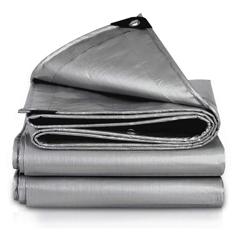 LSXIAO-Tarpaulin Waterproof Heavy Duty Sun Protection Lightweight Metal Eyelet Plastic Wrap Angle Outdoor Camping and Fishing Tents, 18 Sizes (Color : Silver, Size : 1.9x1.9m)