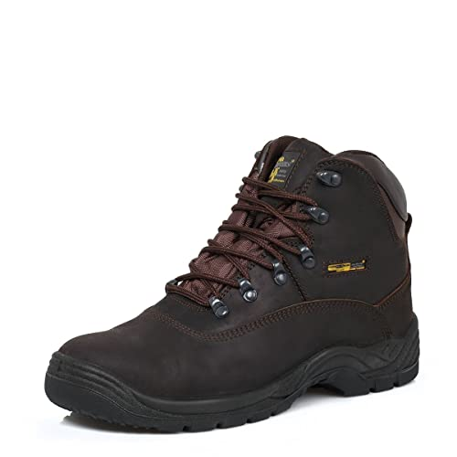 82f46be5a04 Grafters Mens S3 SRC Leather Waterproof Safety Boots Brown