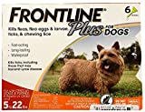 Frontline Plus Flea and Tick Control for Dogs and Puppies 8 weeks or older and up to 5 to 22lbs, 6-Doses