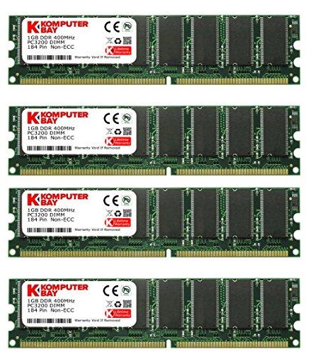3200 184 Pc Ddr400 Pin - Komputerbay 4GB (4 X 1GB) DDR DIMM (184 PIN) 400Mhz DDR400 PC3200 DESKTOP MEMORY WITH SAMSUNG CHIPS CL 3.0