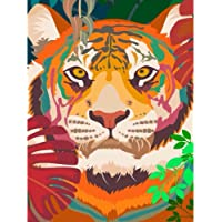 BKBCIX Full Round Drill 5D Diamond Painting Crystal Rhinestone Embroidery Cross Stitch Crafts Color Animal Tiger 30x40cm…