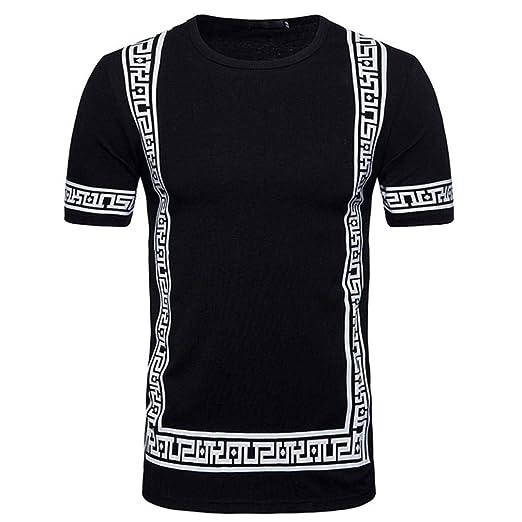 a8b2a3e81 Dacawin Fashion Men Tee Slim Fit O Neck Print Short Sleeve Tops ...