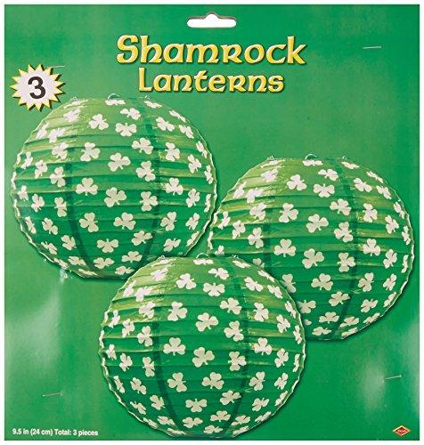 Beistle 30570 3-Pack Shamrock Paper Lanterns, -