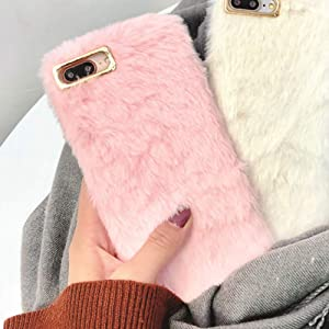 Plush Cover for iPhone Xs Max Case LAPOPNUT Lovely Faux Bunny Fur Case Luxury Super Soft Cover Artificial Rabbit Fluffy Furry Shockproof Back Bumper Case Cover - Pink