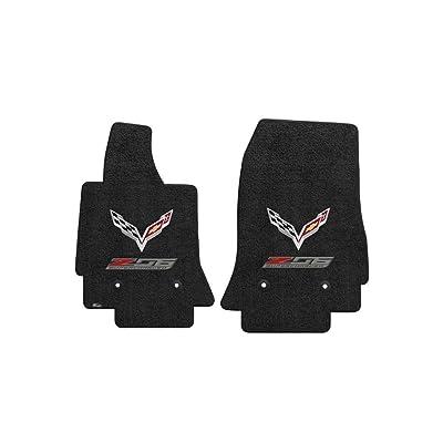 Fits C7 Corvette Z06 Floor Mats- Flags w/ Z06 Supercharged Logo: Black: Automotive