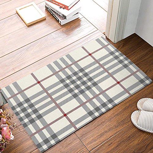 Cloud Dream Door Mats Rug,Floor Mats Front Doormats Non-Slip Bedroom Carpet Home Kitchen Rug 20x31.5inch,Rustic Grey Ivory Red Buffalo Check Plaid