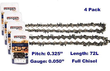 "4-Pack 18/"" Semi Chisel Chainsaw Chain for Husqvarna 435 350-0.325/"" 0.050/"" 72"