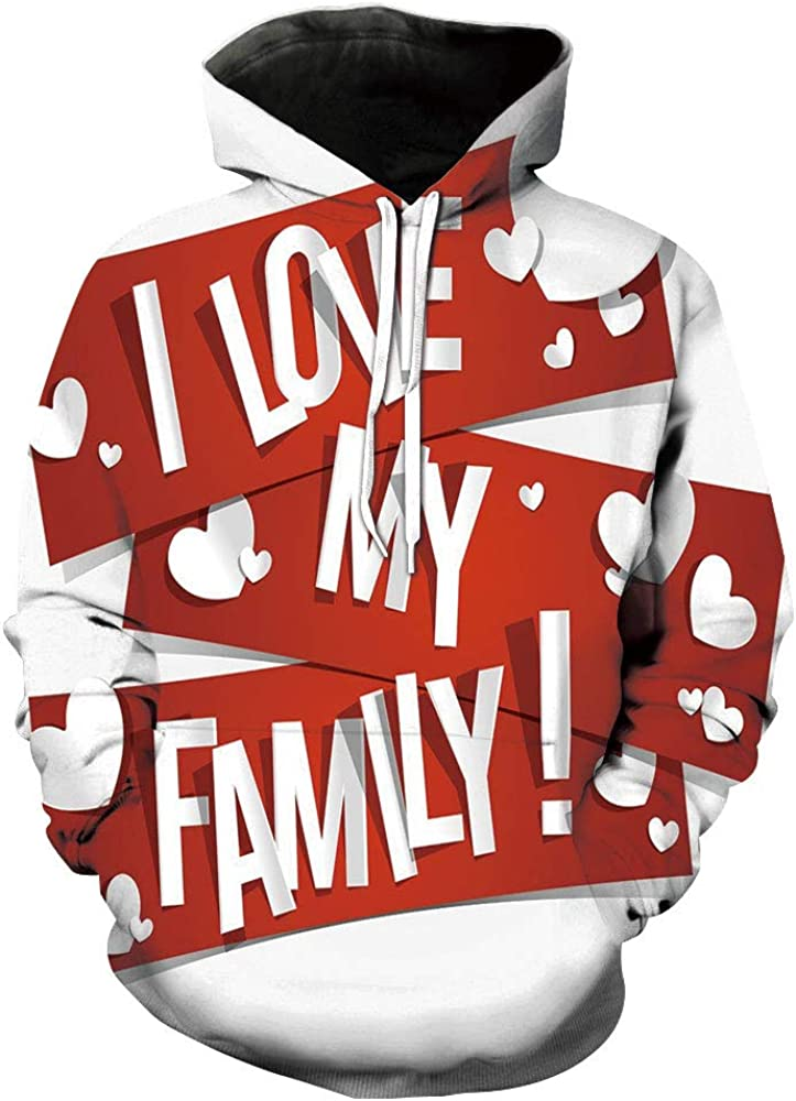 Unisex Hoodie 3D Print Family Red Love Sherpa Lined Fleece Sweatshirt Size XS