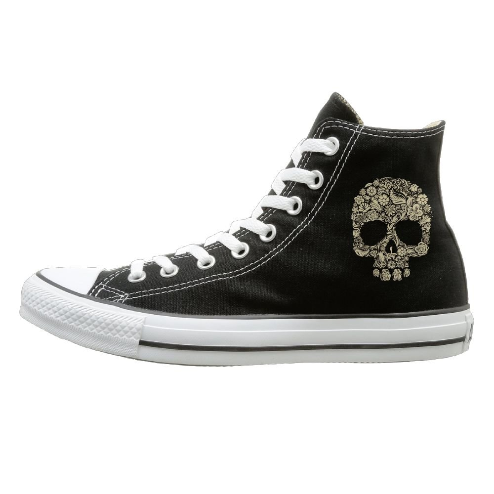 SH-rong Flower Skull High Top Sneakers Canvas Shoes Cool Sport Shoes Unisex Style Size 44