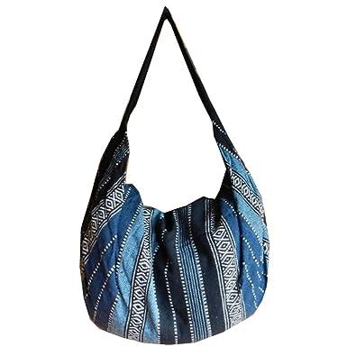 Amazon.com  BTP Handmade Cotton Handbag Purse Shoulder Bag Backpack Hippie  Hobo Hand Woven Ikat (Blue IK2)  Shoes ecf6b33ad2a46