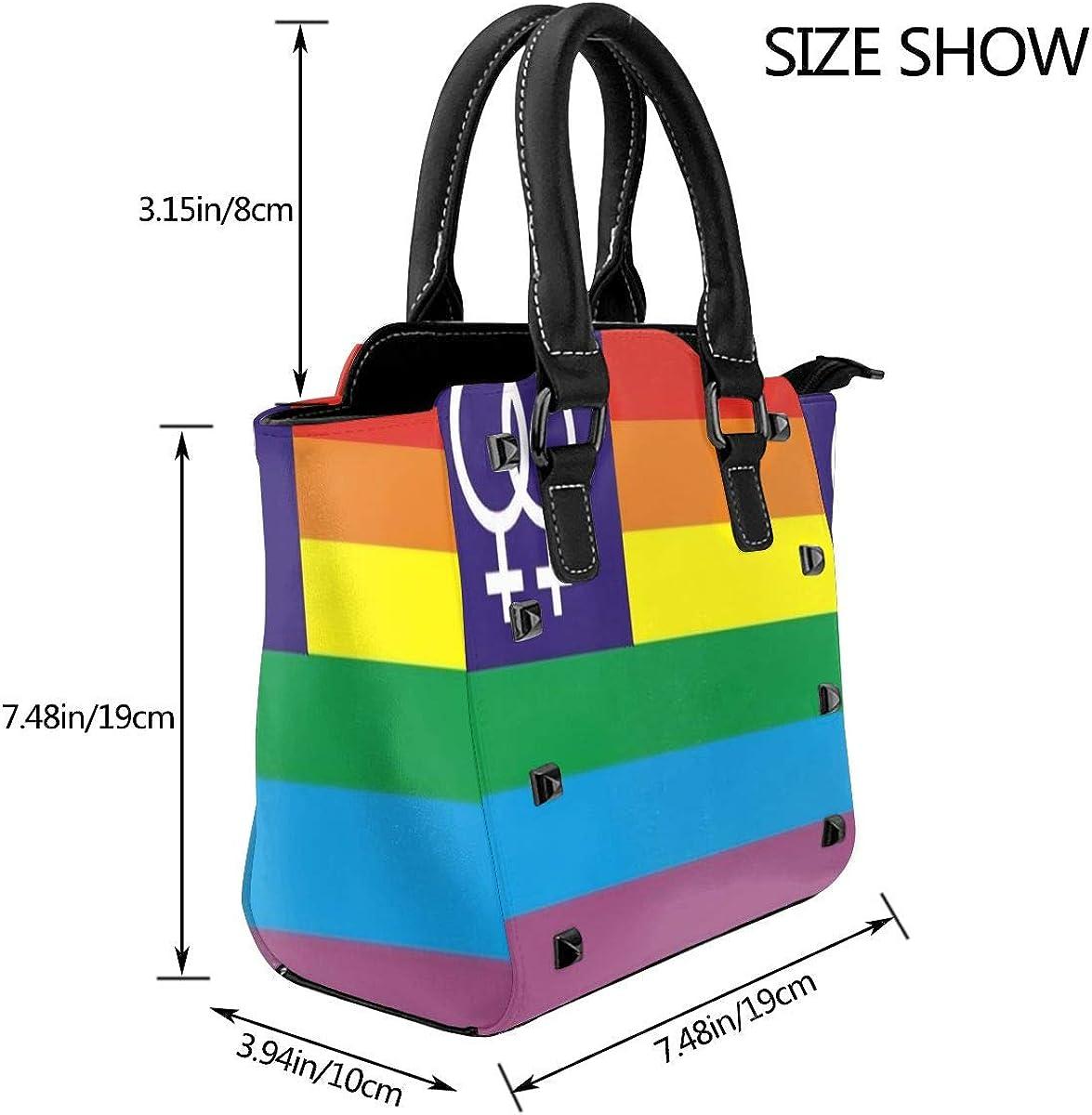 Tote Bag Rainbow Venus Flag Shoulder Bag 3D Printed Non-fading Handbags Womens Waterproof Handle Bag Durable Multi-functional Crossbody Travel Bag With Strap Zipper
