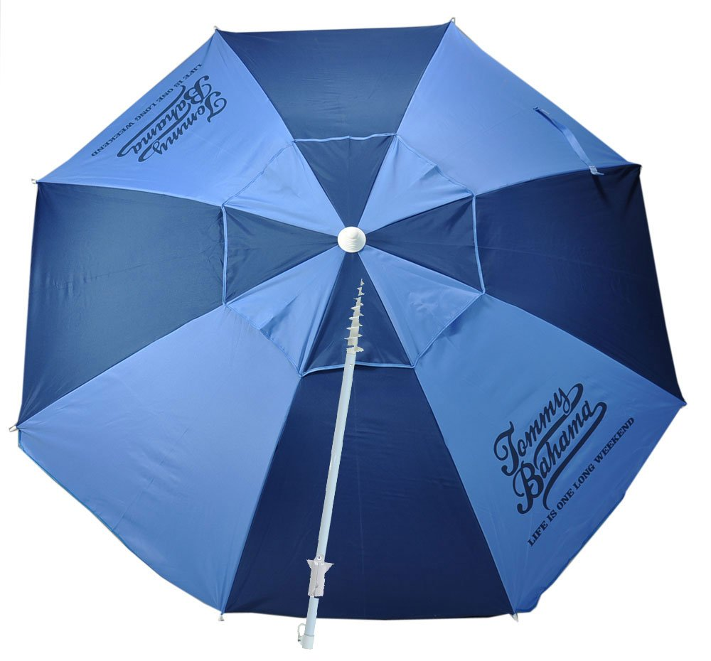 Tommy Bahama 7 ft Fiberglass Beach Umbrella with Integrated Anchor and Telescopic Pole and Tilt