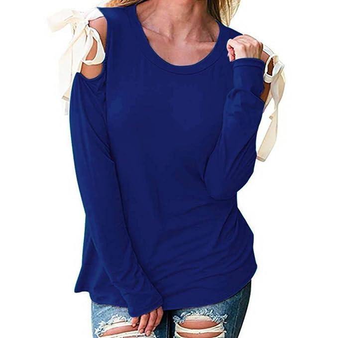 Camisetas Hombro Descubierto Mujer, Venmo Las Mujeres Vendaje de Manga Larga Camisa O-Cuello