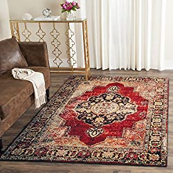 "Safavieh Vintage Hamadan Collection VTH219A Oriental Antiqued Red and Multi Area Rug (6'7"" x 9')"