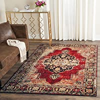 Safavieh Vintage Hamadan Collection VTH219A Oriental Antiqued Red and Multi Area Rug (8 x 10)