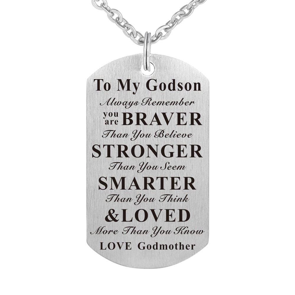 Kisseason Godson Gift Jewelry Keychain Pendant Necklace from Godmother, Birthday Christening Baptism Gift (Gift for Godson from Godmother)
