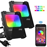 LED Flood Light 100W Equivalent, Outdoor Color Changing Led Stage Landscape Lighting, RGB Bluetooth Smart Floodlights 2700K & 16 Million Colors&Timing& Music Sync, IP66 Waterproof US 3-Plug (2 Pack) (Color: 2 Pack)