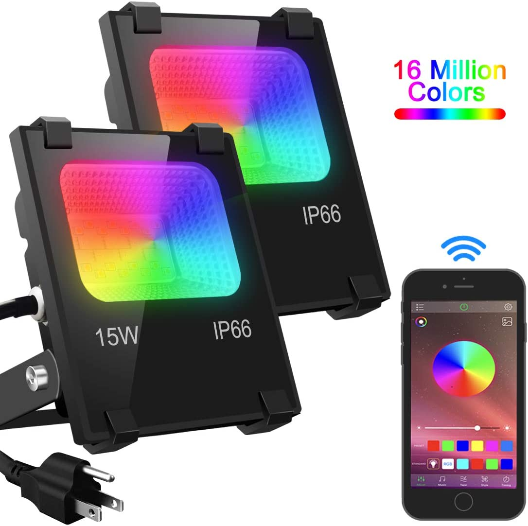 LED Flood Light 100W Equivalent, Outdoor Color Changing Led Stage Landscape Lighting, RGB Bluetooth Smart Floodlights 2700K & 16 Million Colors&Timing& Music Sync, IP66 Waterproof US 3-Plug (2 Pack)