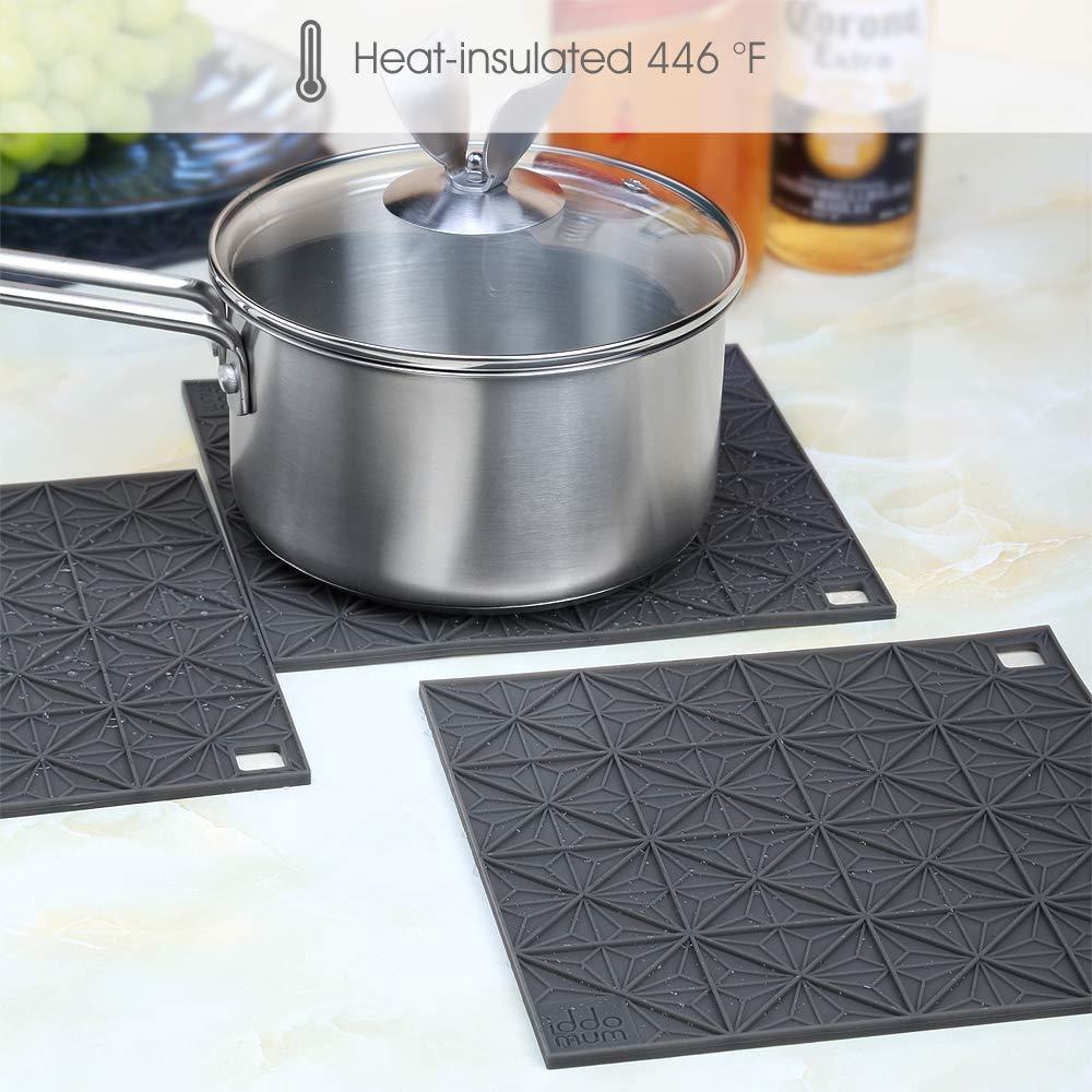 iddomum Hot Pad Untersetzer für heiße Töpfe(4er-Set), Pfannen und Platten, hitzeresistenter Topflappen, große Trockenmatte für die Küche
