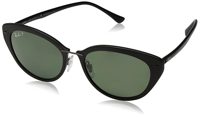 de62e18ee35 Ray-Ban INJECTED WOMAN SUNGLASS - MATTE BLACK Frame POLAR GREEN Lenses 52mm  Polarized