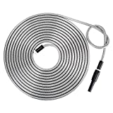 Strong 304 Stainless Steel Metal Garden Hose with Nozzle 25ft|Flexible, Portable & Lightweight - Kink, Tangle & Puncture Resistant|High Water Flow Spray for Watering Lawn, Yard, Car Wash by Beaulife