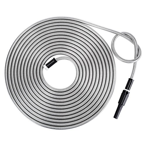 Strong 304 Stainless Steel Metal Garden Hose with Nozzle 50ft|Flexible, Portable & Lightweight - Kink, Tangle & Puncture Resistant|High Water Flow Spray for Watering Lawn, Yard, Car Wash by Beaulife