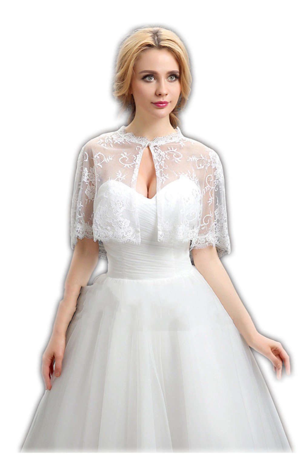 Women's Wedding Bridal Ivory Lace Jacket Bolero Cape Wrap Shoulder Covers