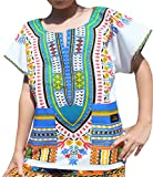 Raan Pah Muang RaanPahMuang Branded Childrens African Dashiki Short Sleeve Shirt In White Tones, 8-10 Years Tall, New White Blue