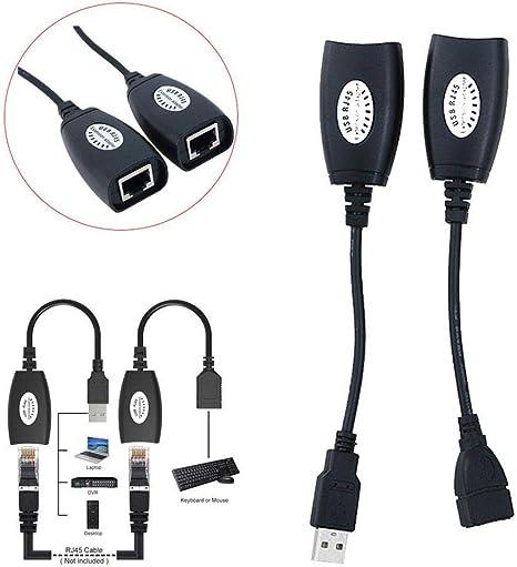 Black USB UTP Extender Adapter Over Single RJ45 Ethernet CAT5E Cable Up to 150ft