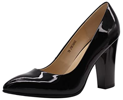 b5160c88714b JARO VEGA Women s Chunky Heel Closed Pointed Toe Patent Leather Dress Pumps  Shoes Black Size 6