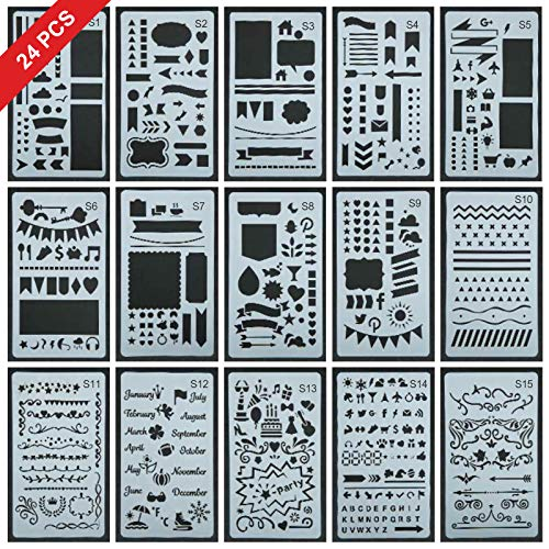 24 Pcs Upgrade Journal Stencil Set-Over 2400 Different Patterns, Letter Template/DIY Craft/Notebook / Diary, Scrapbooking and DIY Projects Drawing Stencils