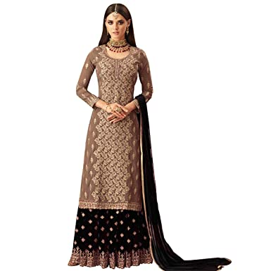 c77bc2e27c Glamify Women's Georgette Embroidered Semi Stitch Sharara Suit  (Brown_Black_Free Size)