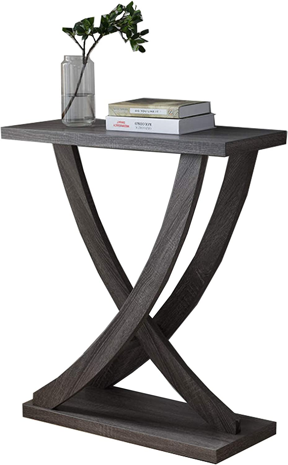 Benzara Wooden Console Sofa Side End Table with Curved Legs, Distressed Gray: Kitchen & Dining