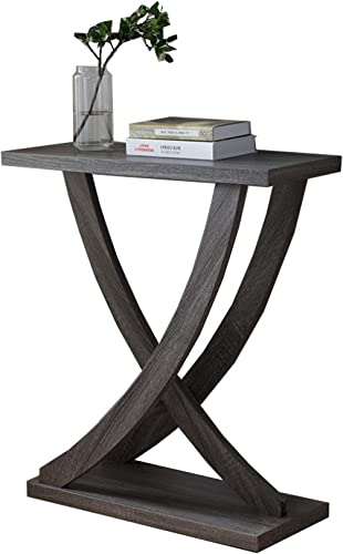 Benzara Wooden Console Sofa Side End Table with Curved Legs, Distressed Gray